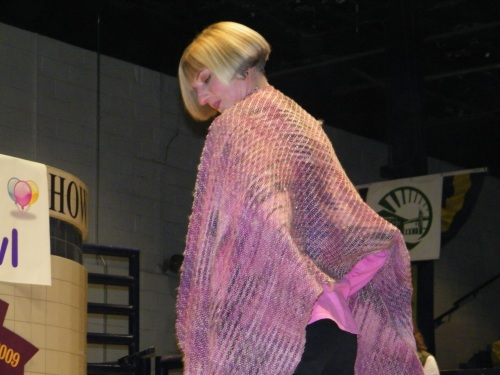 The woman who won this shawl is a breast cancer survivor.  Again... you go, girl.